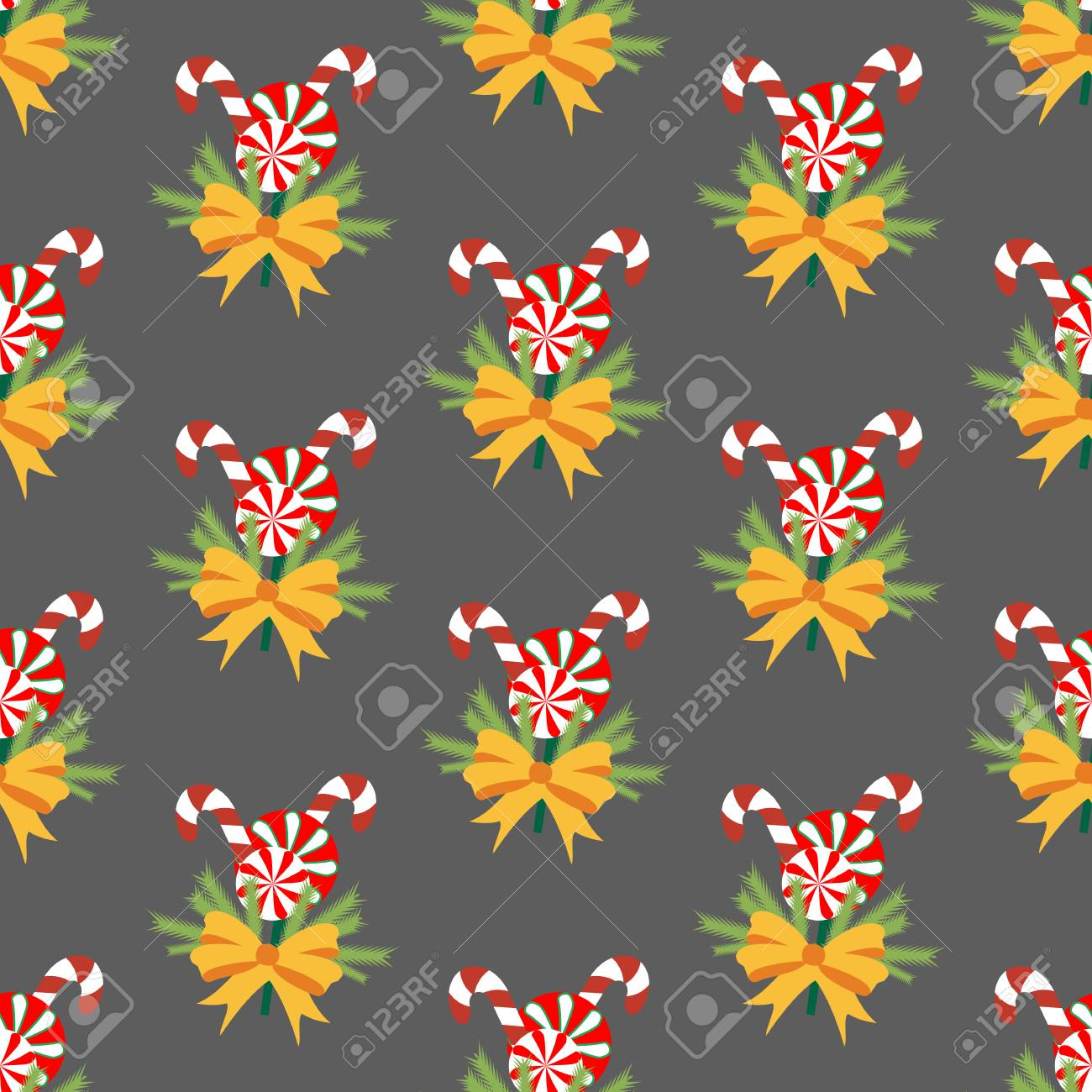 Candy Cane Pattern On The Gray Background Vector Illustration