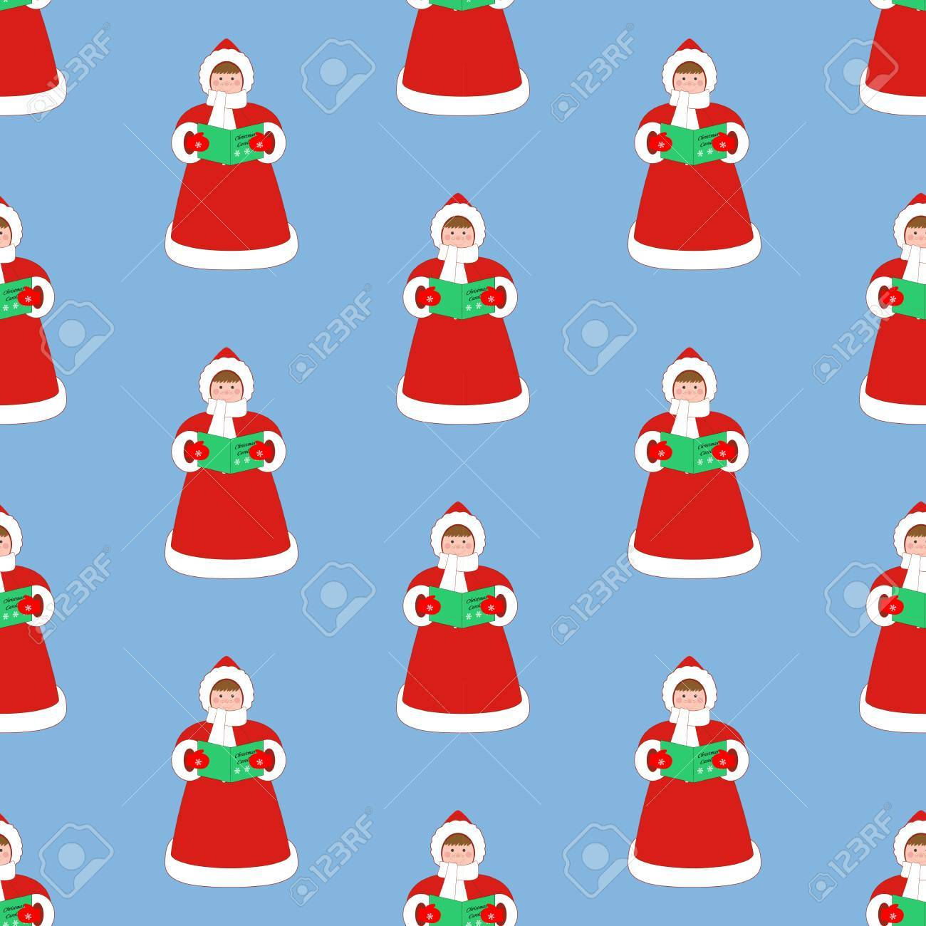 Weihnachtslied-Sängermuster Auf Dem Blauen Hintergrund. Vektor ...