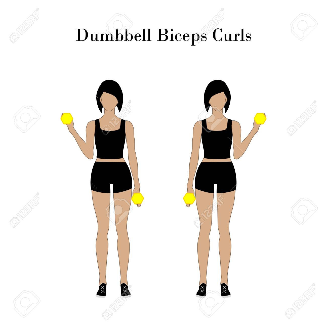 Dumbbell biceps curls exercise - 122616560