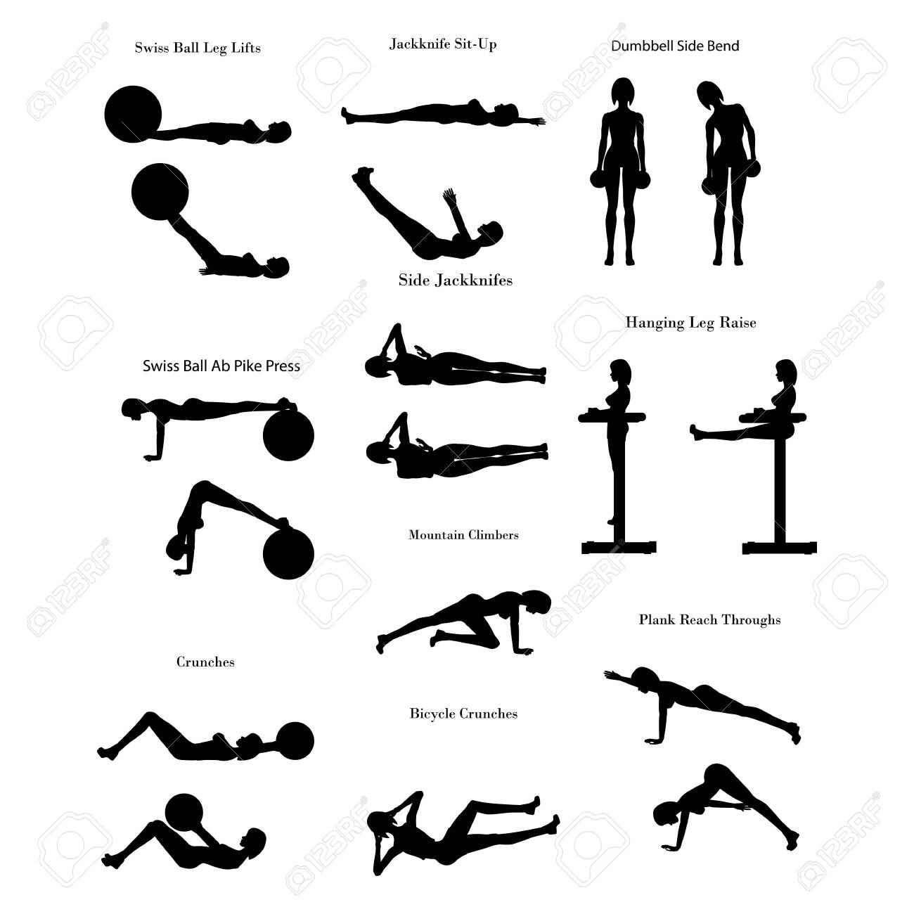 Workout exercise illustration silhouette - 131998902