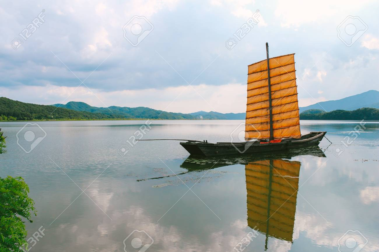 Old Wooden Sailing Ship Sailboat With River In Semiwon Korea