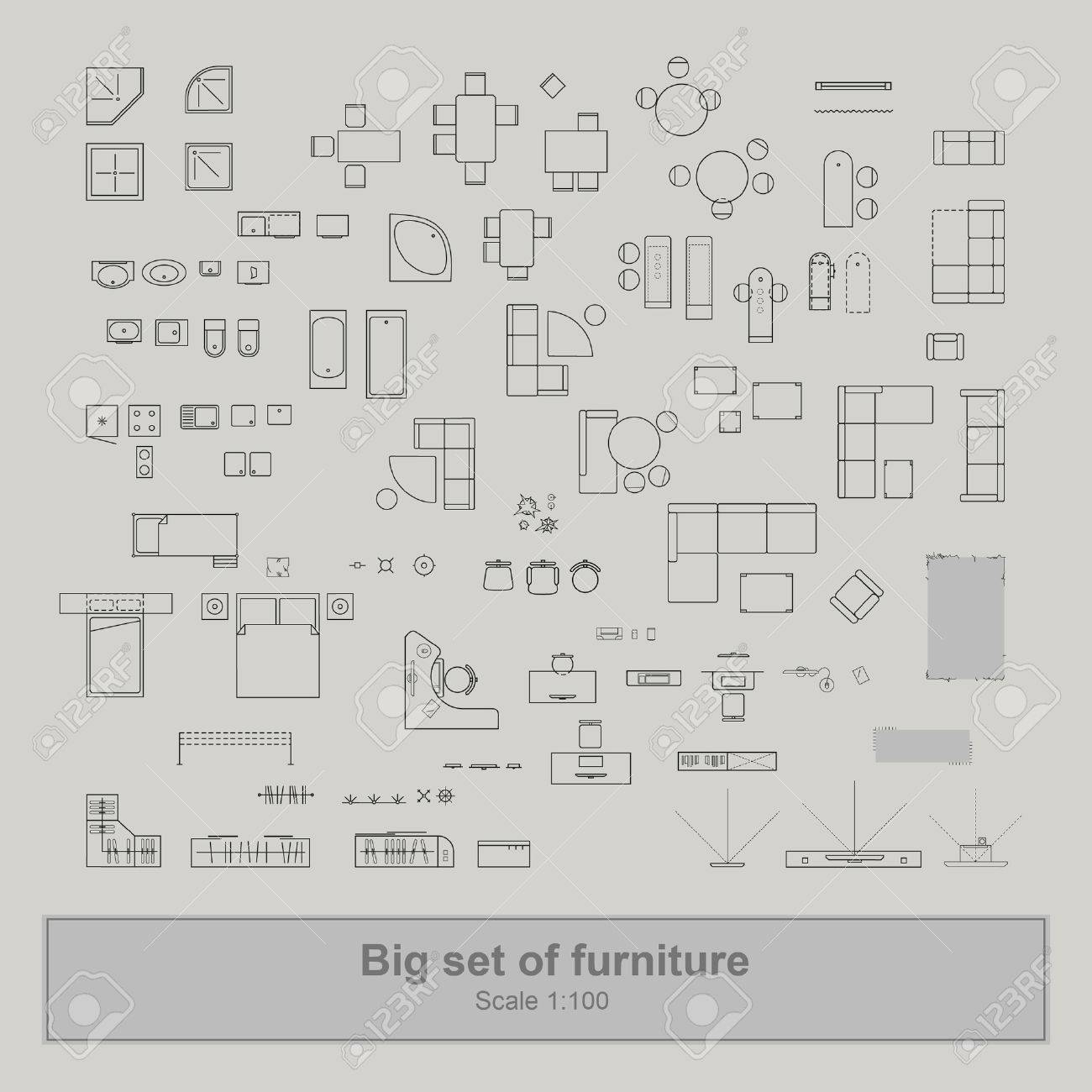 Vista Superior De Conjunto De Muebles Para Planos De Apartamentos ...