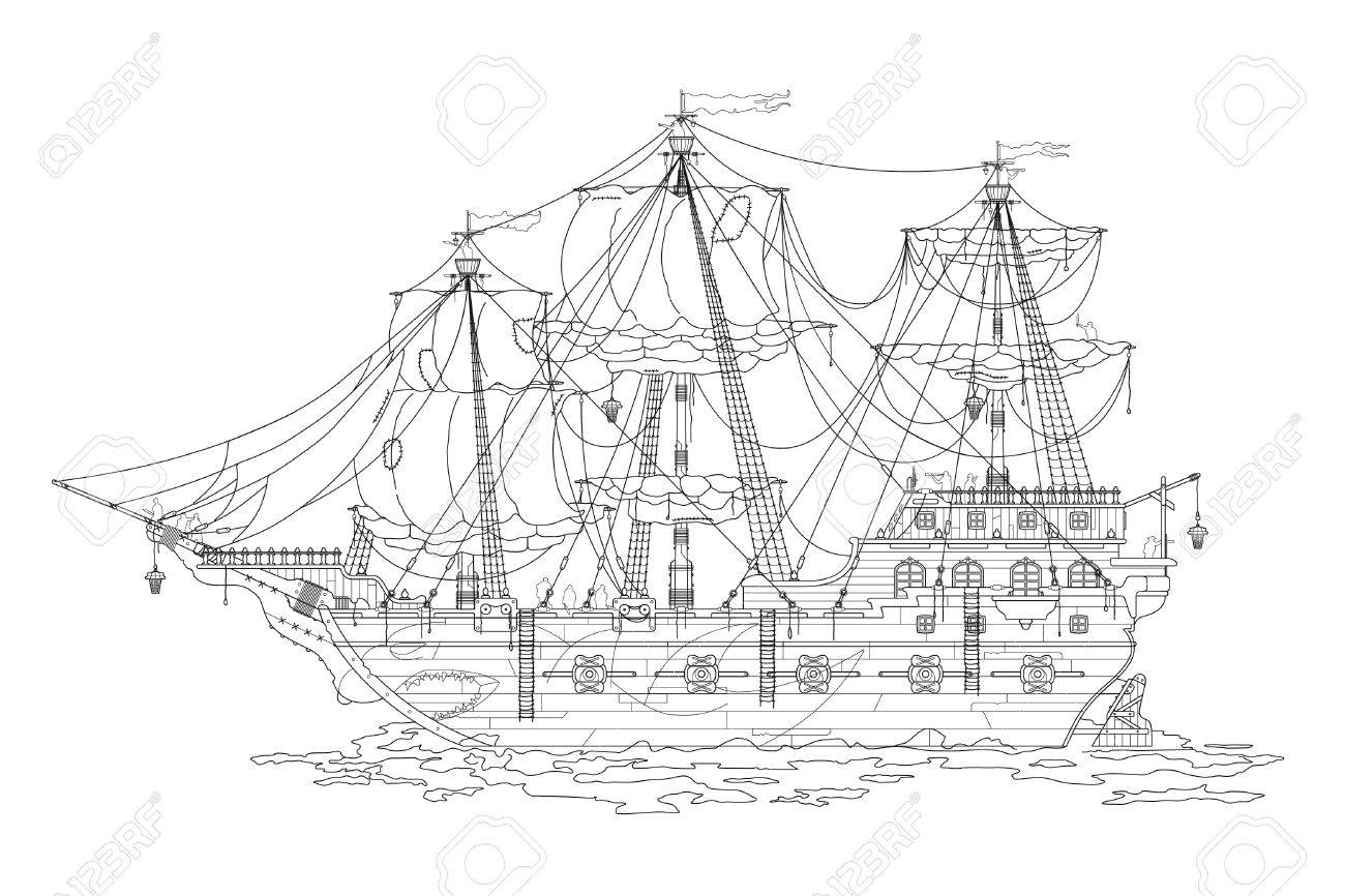 Dessin à La Main Dessin Animé Pirate Navire Coloriage Pour Les