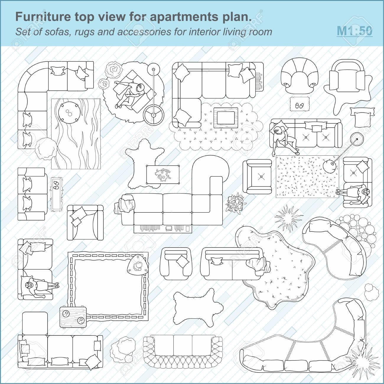 Set Von Sofas, Teppichen Und Zubehör Für Innenwohnzimmer Möbel Draufsicht  Für Wohnungen Planen. Set Von Sofas, Teppichen Und Zubehör Für Den  Innenwohnraum.