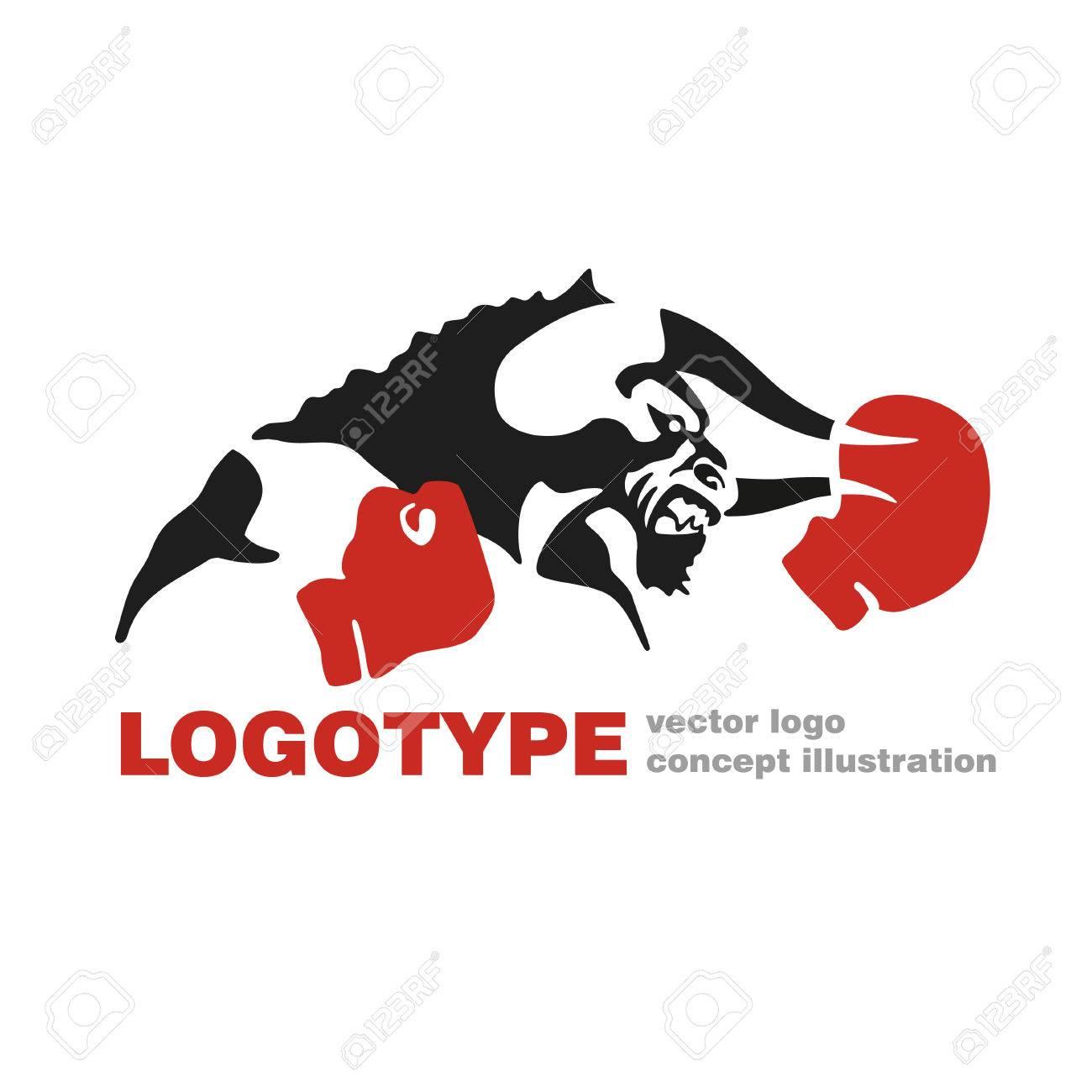 bull boxing gloves vector logo template creative illustration