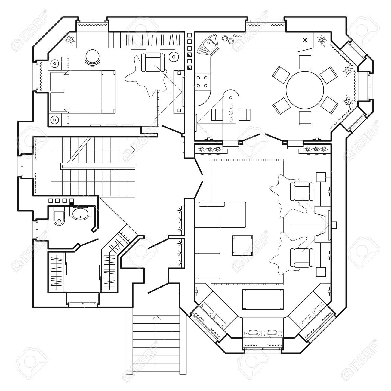 Icones De Plan D Etage Plan Architectural Noir Et Blanc D Une Maison Disposition De La Vue De Dessus De L Appartement Avec Les Meubles Dans La Vue En Plan Clip Art Libres De Droits