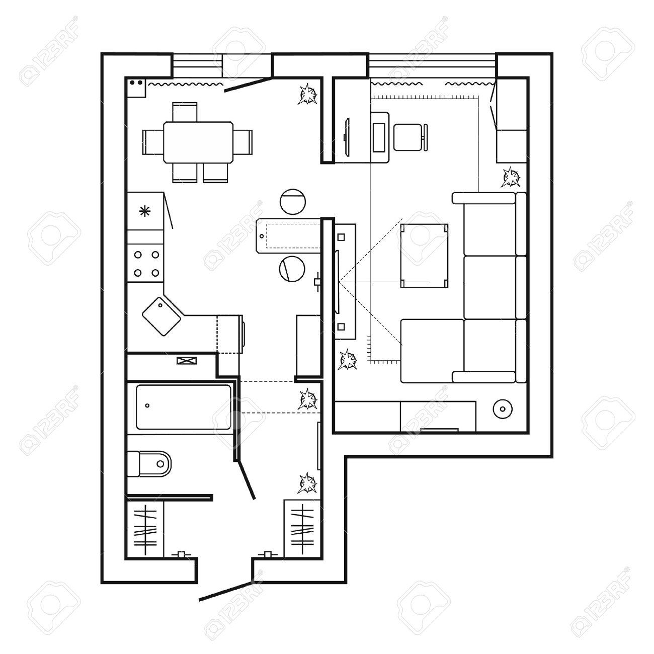 Architekturplan Mit Möbeln Haus Grundriss. Küche, Wohnzimmer Und Bad ...
