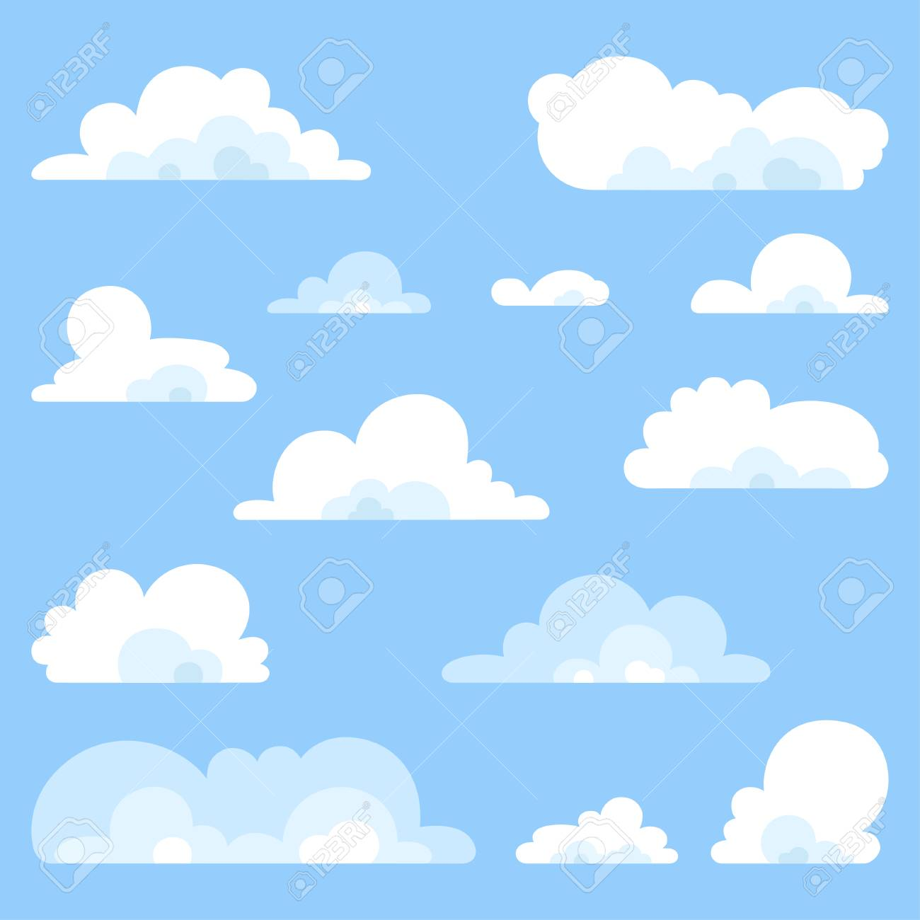 fluffy clouds vector set collection of stylized cloud white rh 123rf com cloud vectors free cloud vectors free