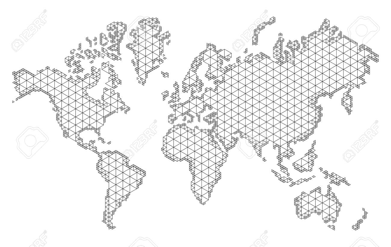 Map Of The World With Trendy Triangles Design. Polygon Mesh Of