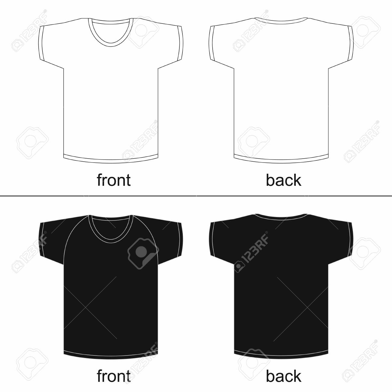 Printable T Shirt Template | Blank T Shirt Template Front And Back For Printable Vector