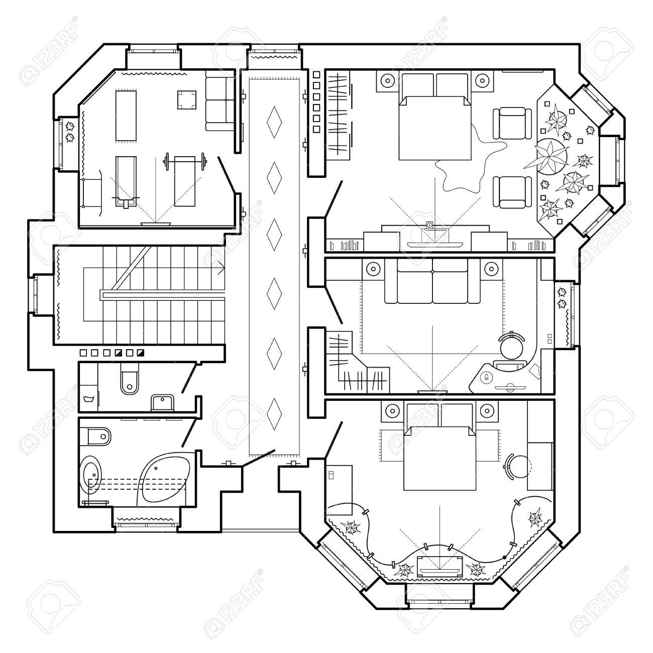 Icones De Plan D Etage Plan Architectural Noir Et Blanc D Une