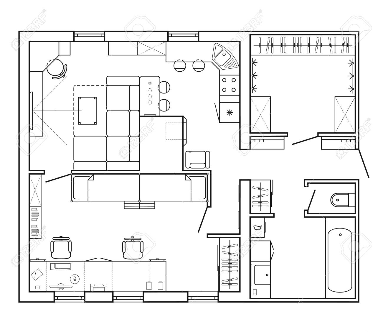 Architektonischer Plan Eines Hauses Layout Der Wohnung Mit Den Mobeln In Zeichnung