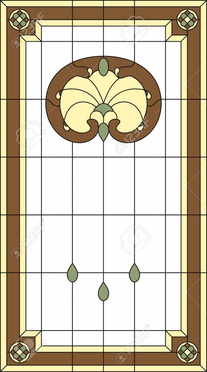 Panel De Vidrio Coloreado En Un Marco Rectangular Ventana Clásica Arreglo Floral Abstracto De Brotes Y Hojas En El Estilo De Nouveau Del Arte