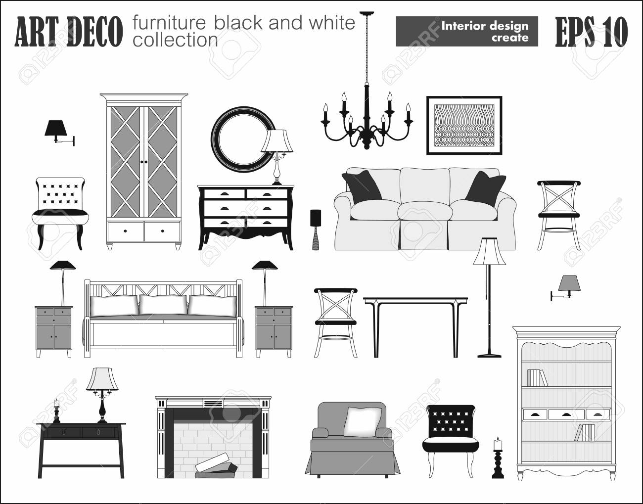 Living Room Furniture Set Art Deco Collection Modern Design Royalty Free Cliparts Vectors And Stock Illustration Image 91558492