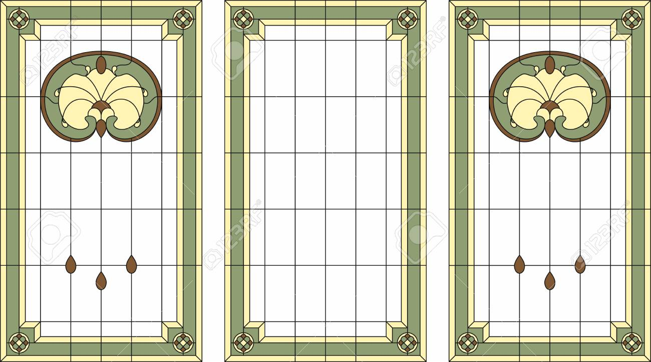 Stained-glass Panel In A Rectangular Frame. Classic Window, Abstract ...