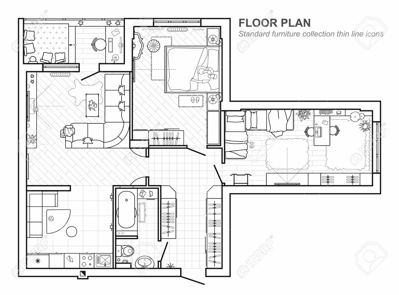 Floor Plan With Furniture In Top View Architectural Set Of