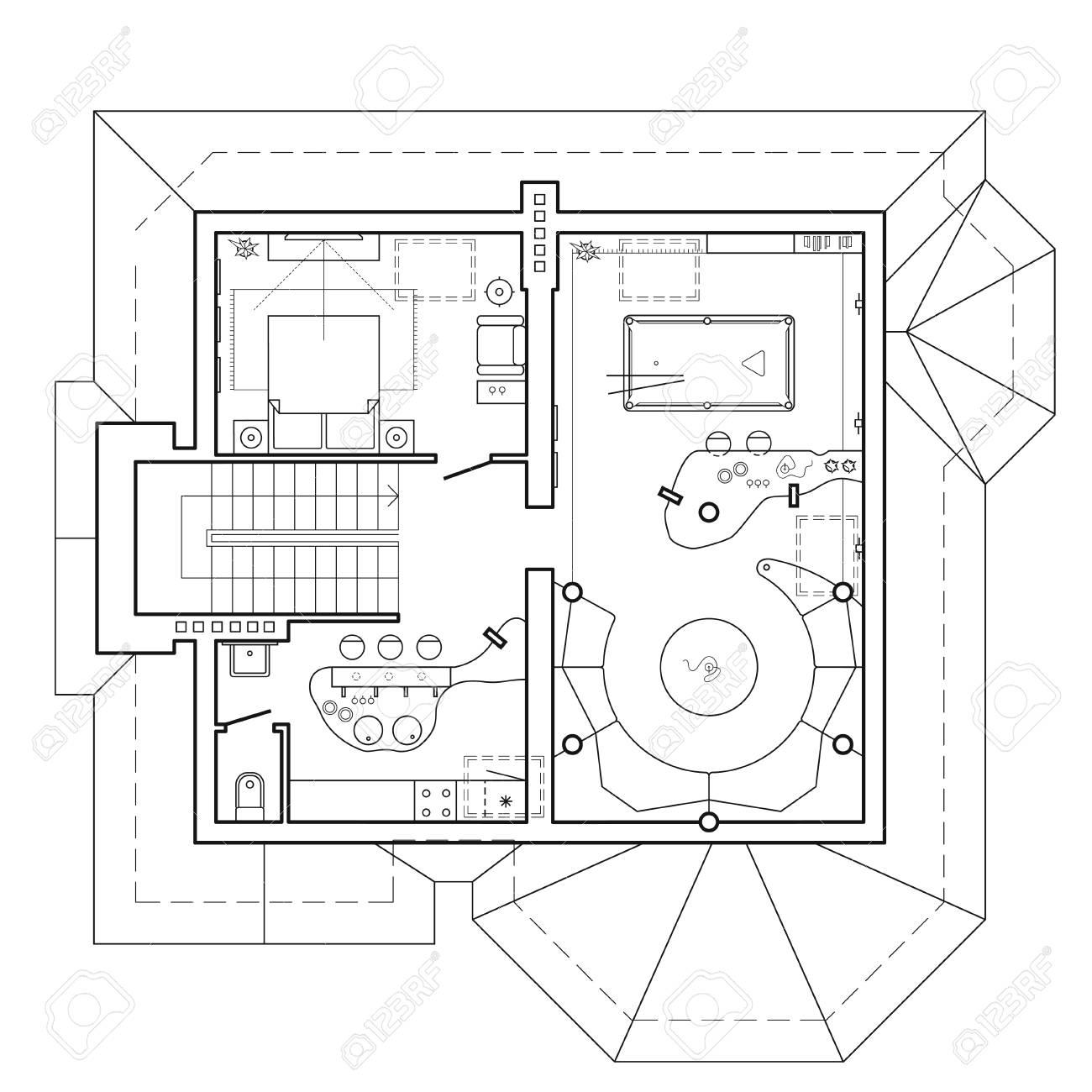 L Etage Mansarde Du Chalet Plan Architectural D Une Maison Disposition De L Appartement Avec Le Mobilier Dans La Vue De Dessin Vue De Dessus Avec Table De Billard Salon Et Cuisine Icones Vectorielles Clip