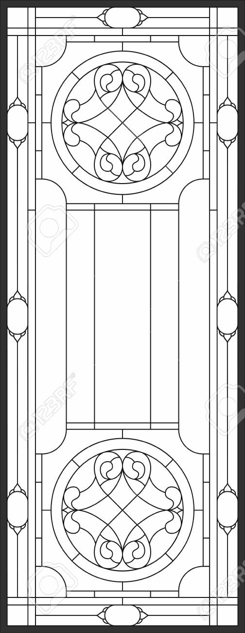Outline Sketch Of Stained-glass Panel In A Rectangular Frame ...