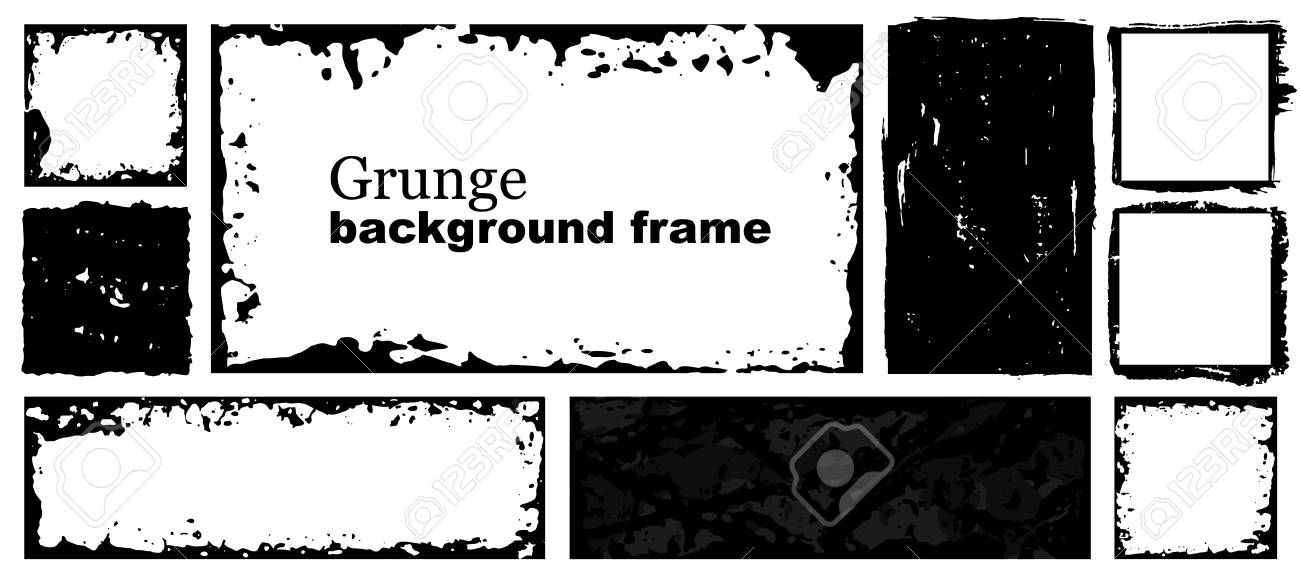 Collection Of Black Square And Rectangular Frames With Torn