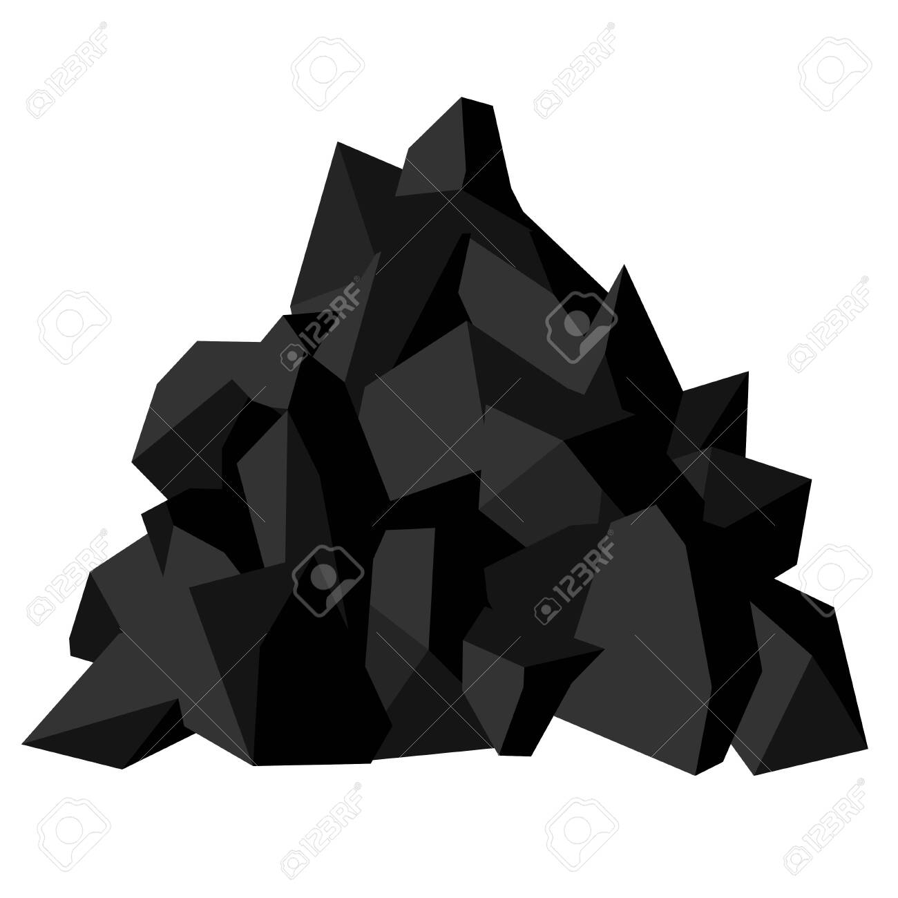 Pile of coal. Pieces of fossil stone, black color. Vector image isolated on white background - 129687774