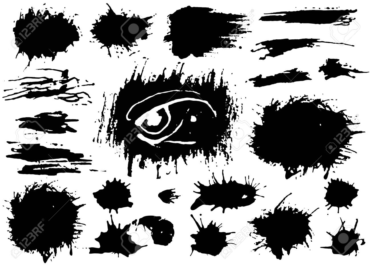 Set of black paint, ink brush strokes, brushes, lines. Dirty artistic grunge design elements. Vector - 135993816