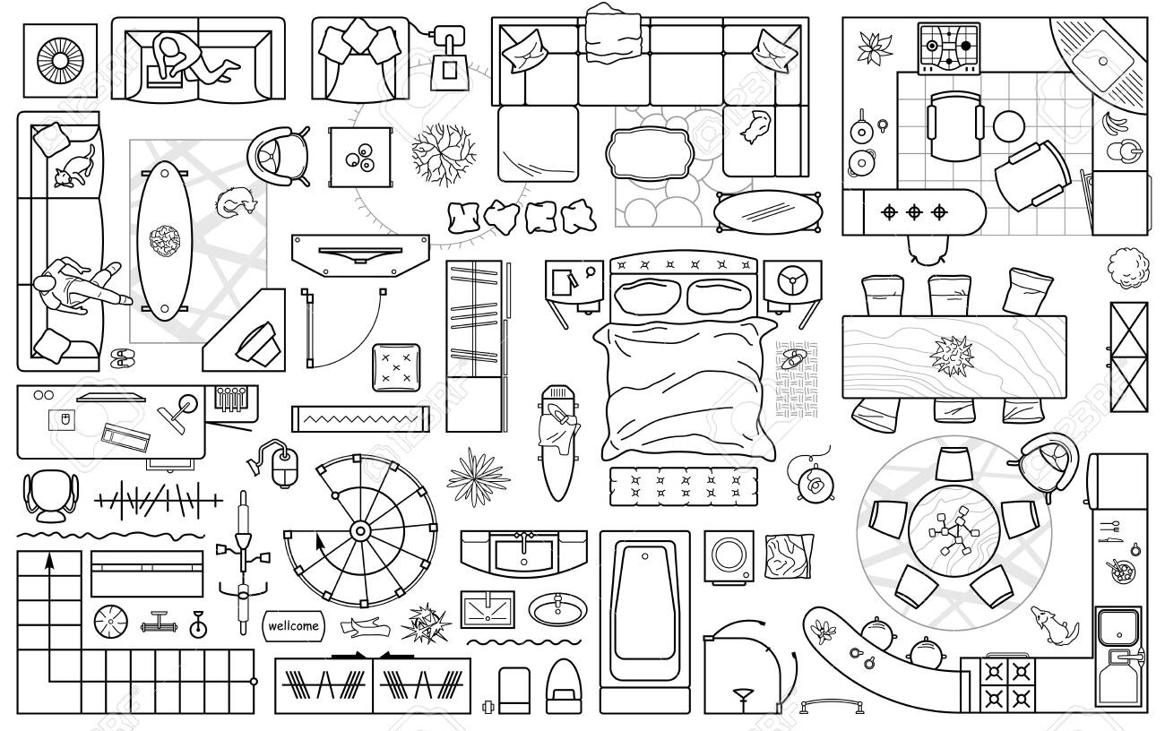 Floor Plan Icons Set For Design Interior And Architectural Project Royalty Free Cliparts Vectors And Stock Illustration Image 139558304