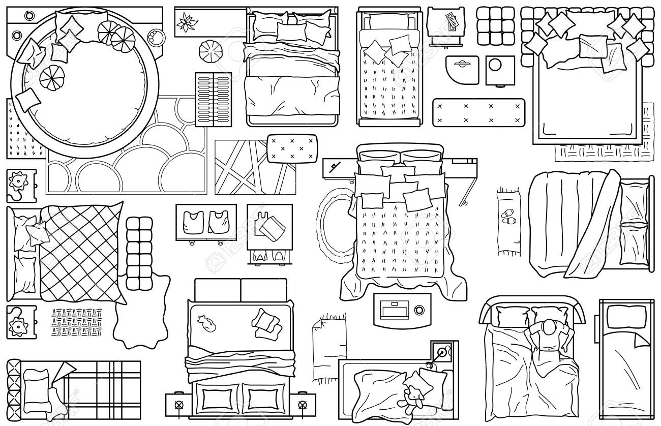 Set of furniture icons for the bedroom, top view. The layout..
