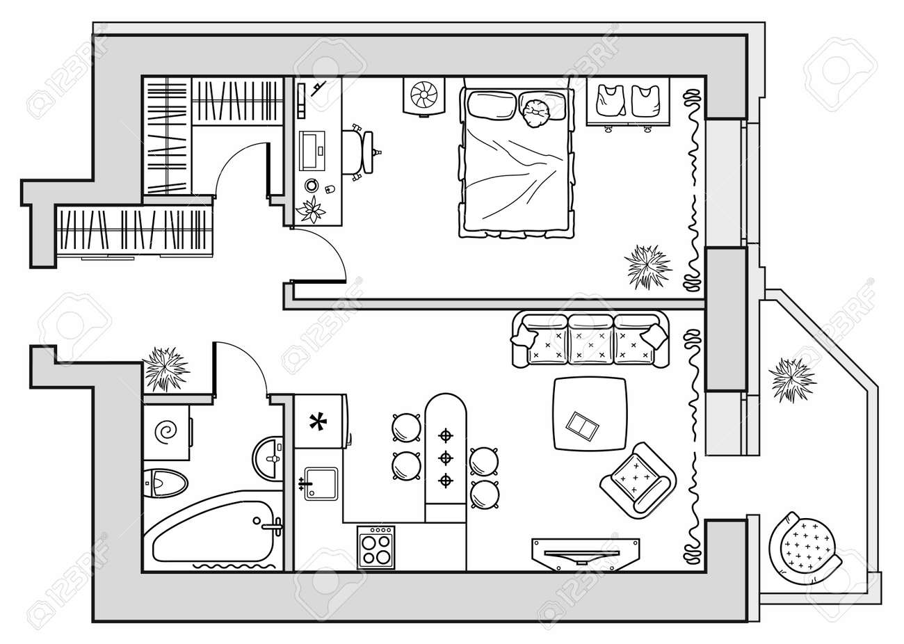 Planning of an apartment with furniture arrangement. Architectural drawing of a house (top view). Interior design floor plan from above. Vector layout - 168984204