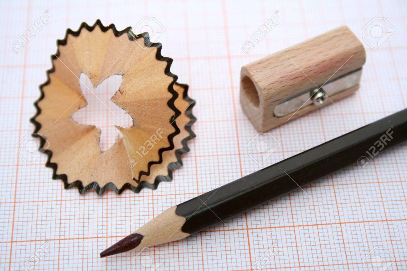 wooden sharpener shaving and pencil for plotting on a millimetric