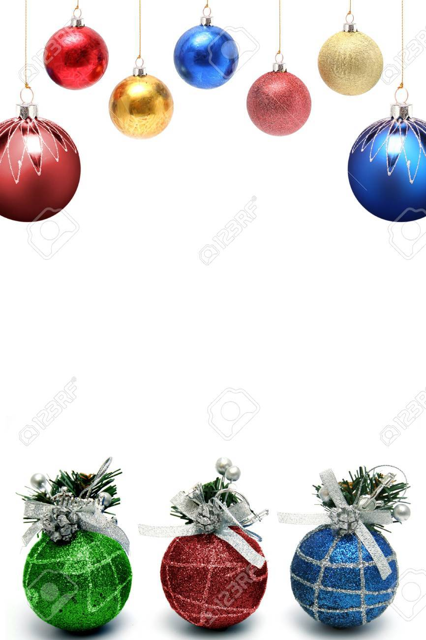 Christmas framework with a set of New Year's spheres of different color and the size vertically Stock Photo - 673458
