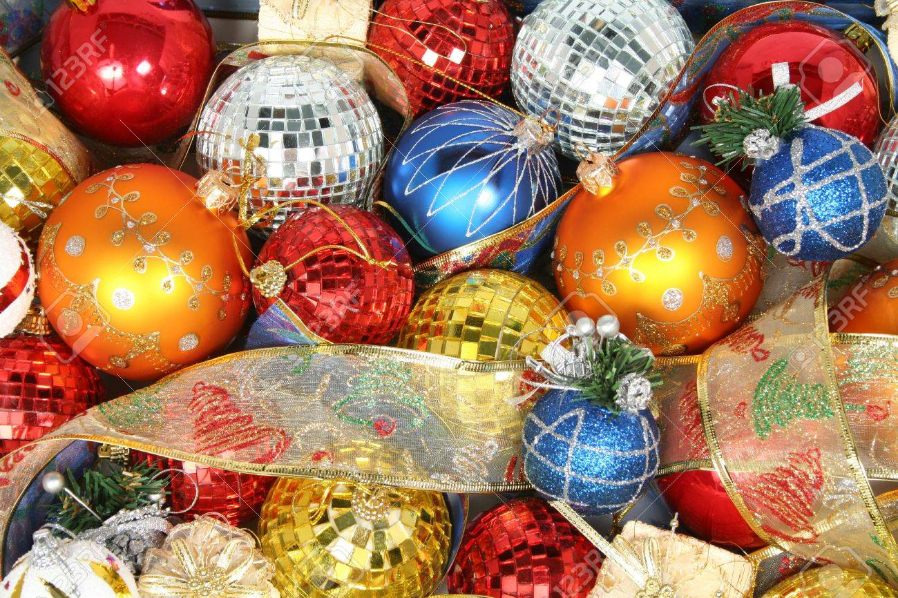 Christmas ornaments of different color and gift ribbons Stock Photo - 880435