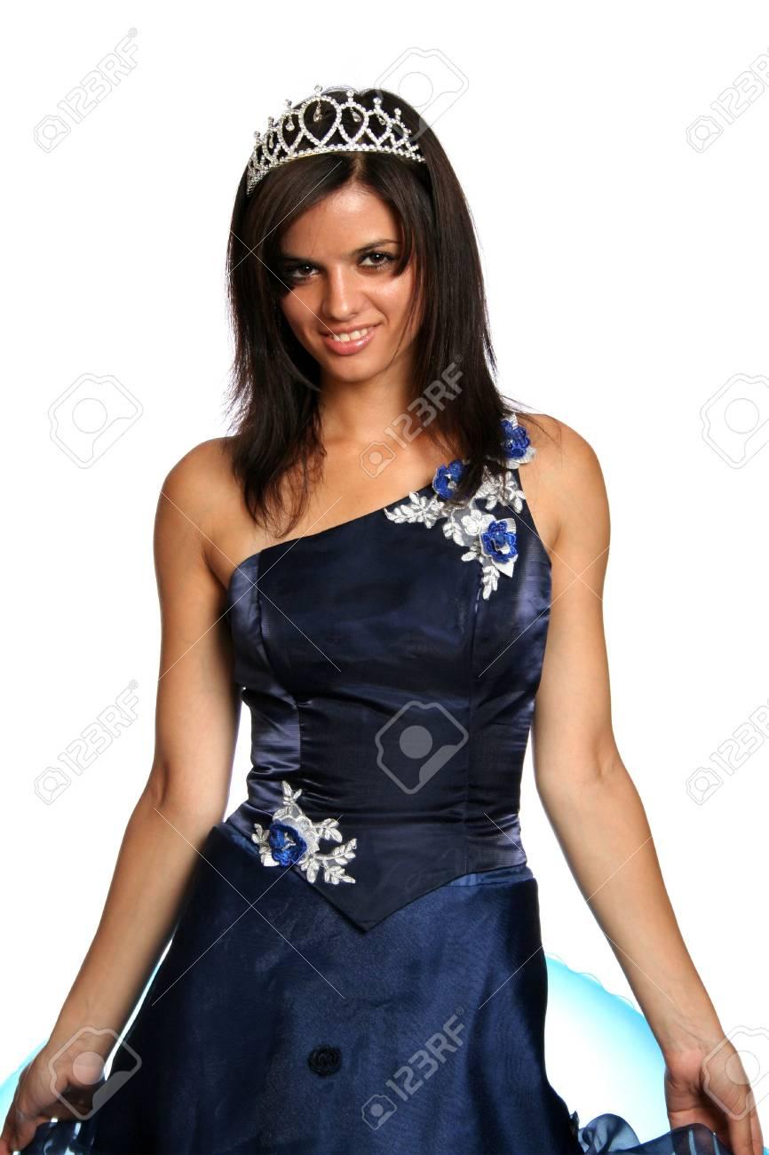 Vestidos de noche azul y blanco