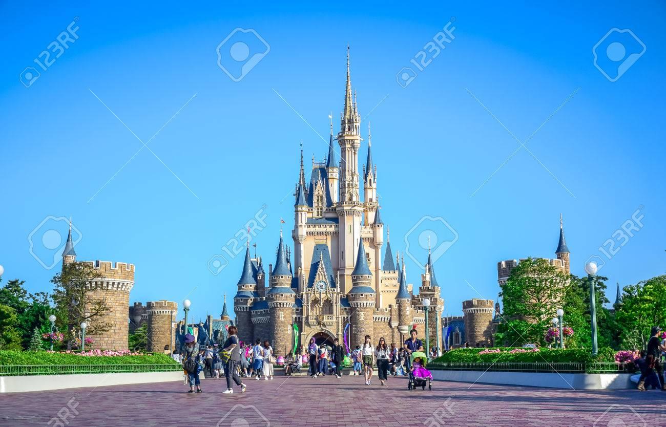 Chiba Japan View Of Tokyo Disneyland Cinderella Castle Stock Photo