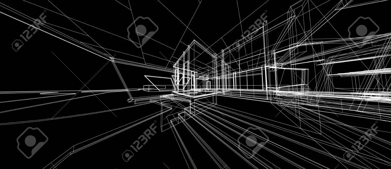 Architecture Design Concept 3d Perspective Wire Frame Rendering Stock Photo Picture And Royalty Free Image Image 121329545