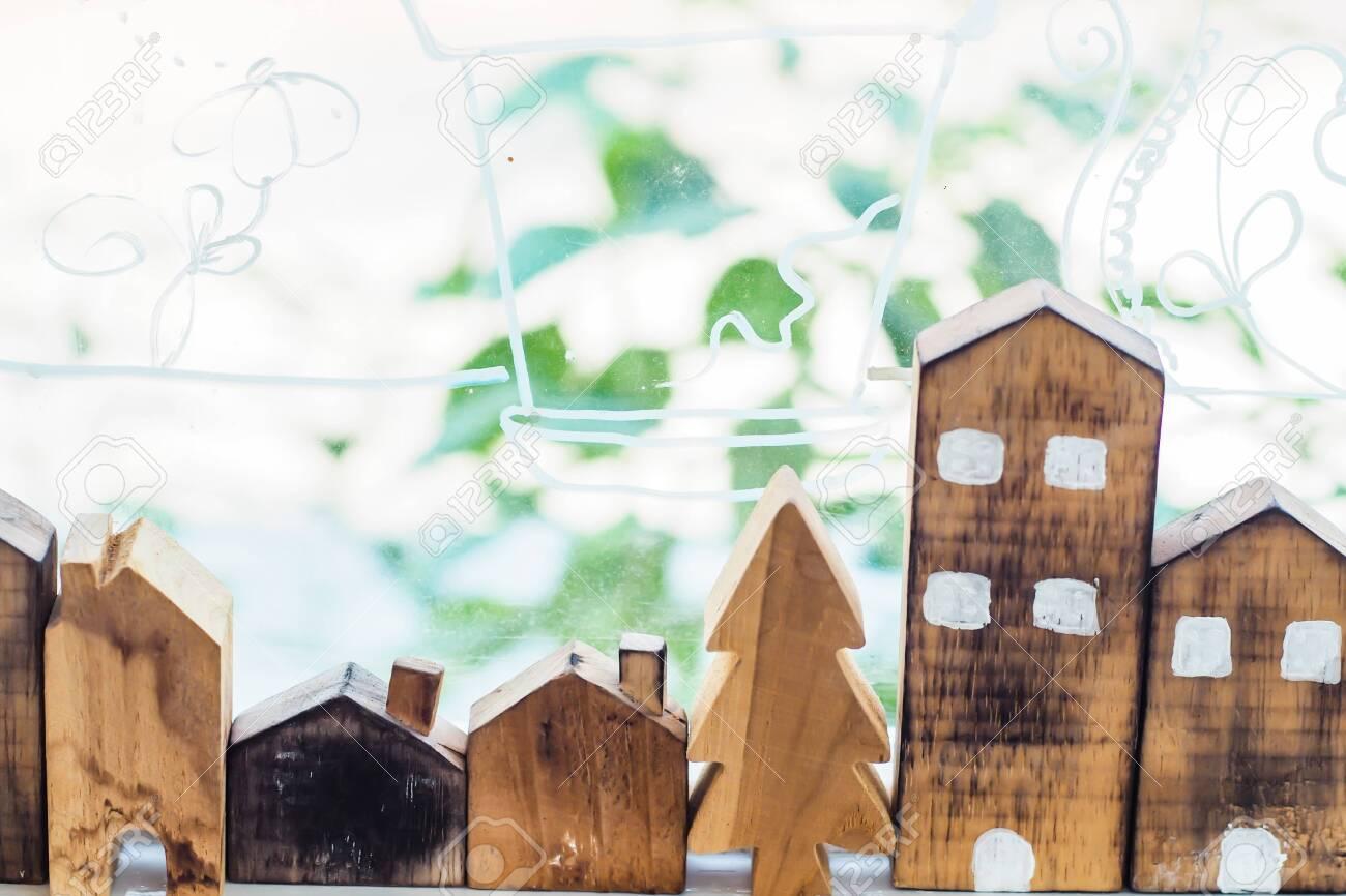 Designer Hand Present Wooden Shape House Model Home Insurance