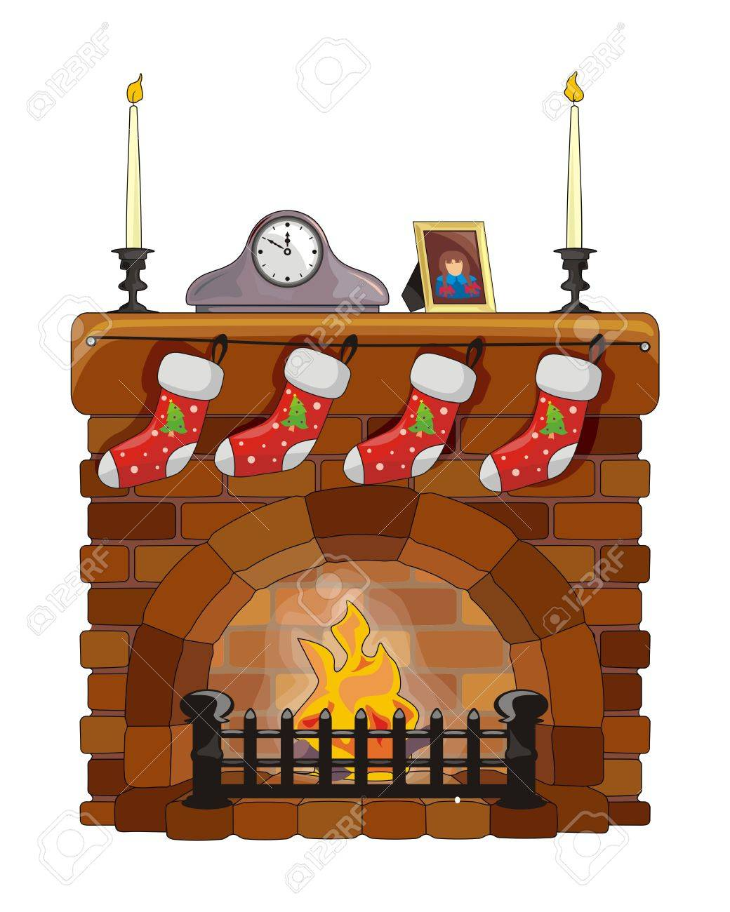 brick fireplace clipart. object fireplace on christmas and new year stock vector 16559341 brick clipart