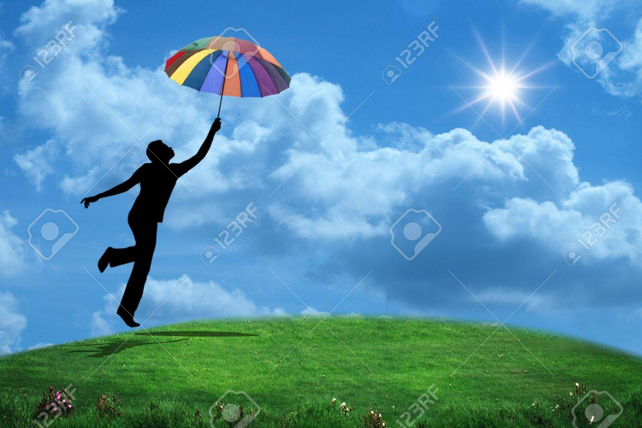 man jumping with umbrella - 14987550