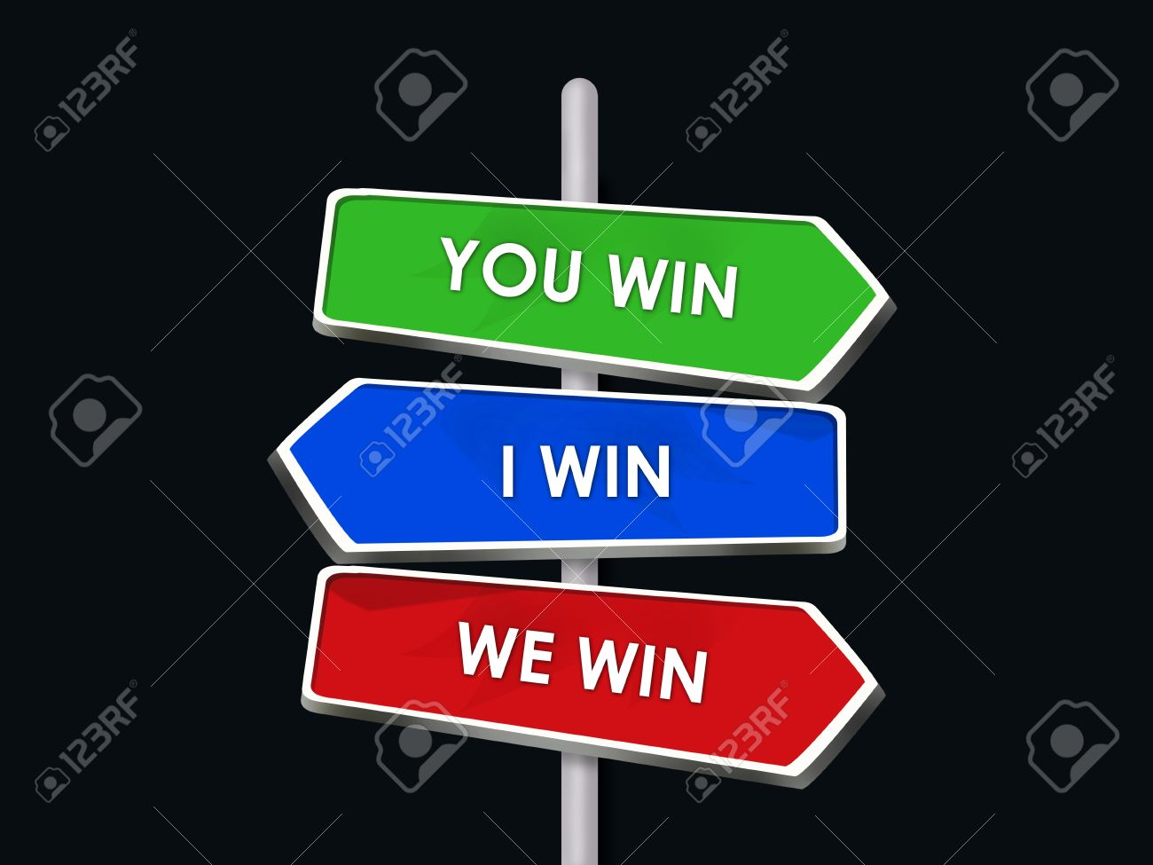 You and I Win We All Are Winners - 3 Way Street Sign Stock Photo - 16975733