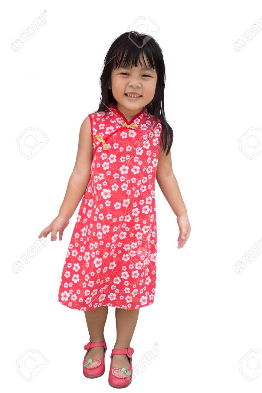 Niña Asiática Mujer Vestido Tradicional Cheongsam Aislado En Blanco ...