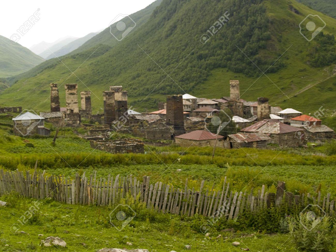 Beauty old small village in swanetia. Georgia Caucas Stock Photo - 4913868