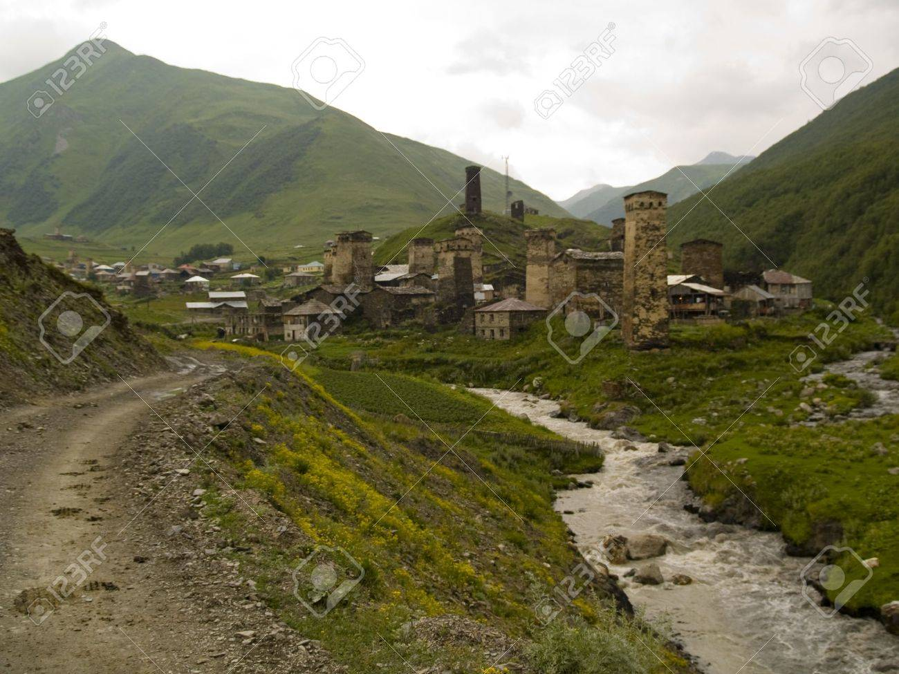 Old small village in the caucas. Old historical tower. Stock Photo - 4913852