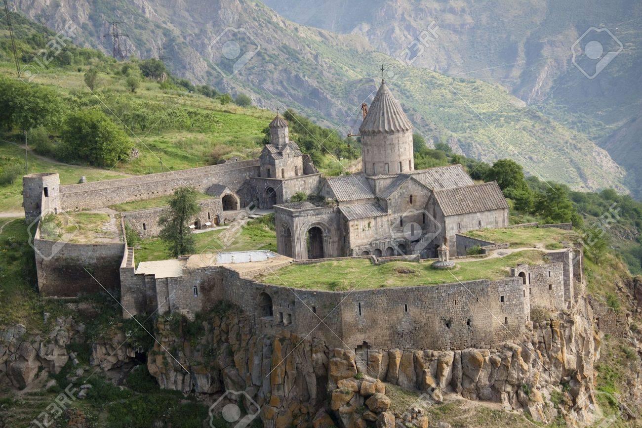 Tatev monastyr in Armenia, Aerial view. Summer day Stock Photo - 5432426