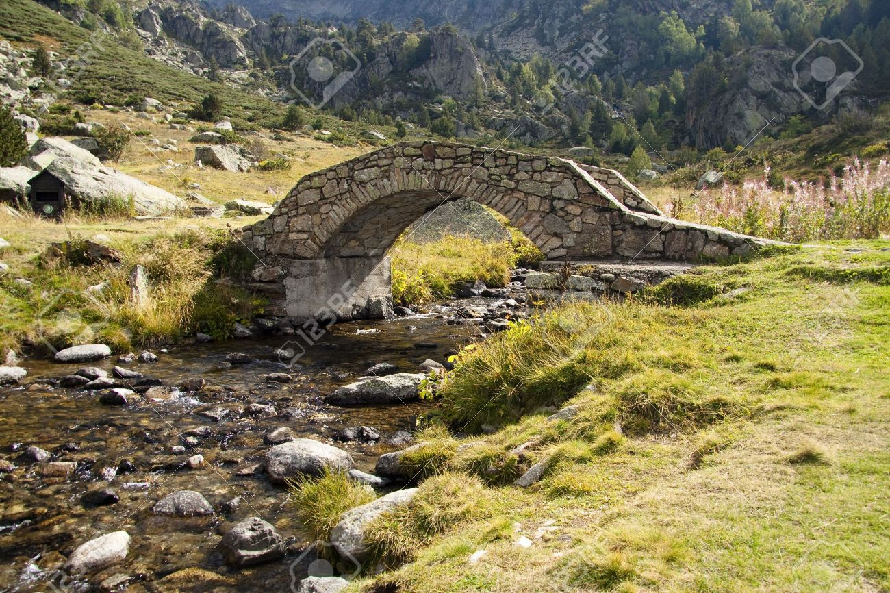 Stone bridge over beautiful river in summer - Pyrenees - 5882937