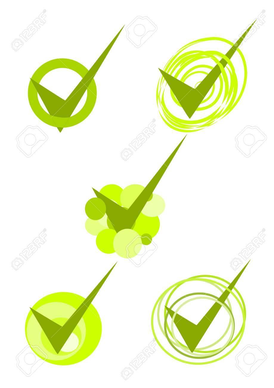 Five green accepted symbols - vector Stock Vector - 10845969