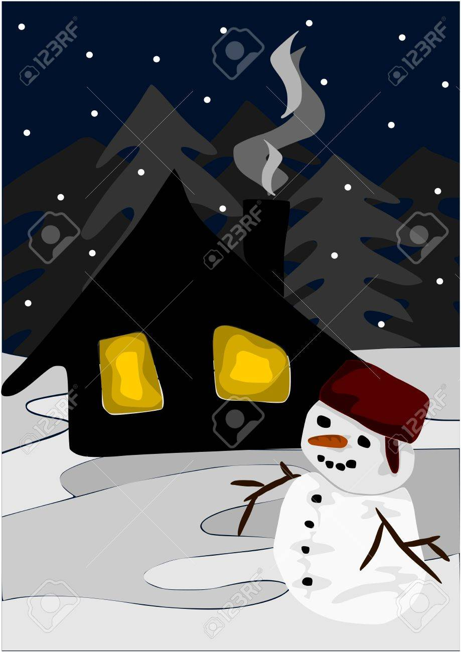 Winter view at night - snowman and wooden cottage. Stock Vector - 11858419