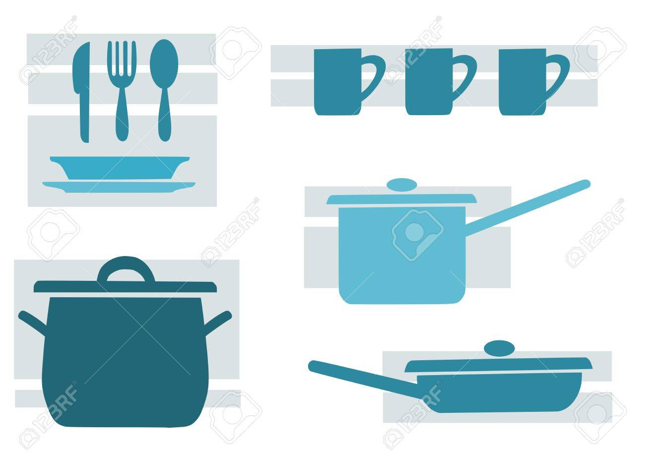 Kitchen tools, blue and beauty vector illustration Stock Vector - 12492978