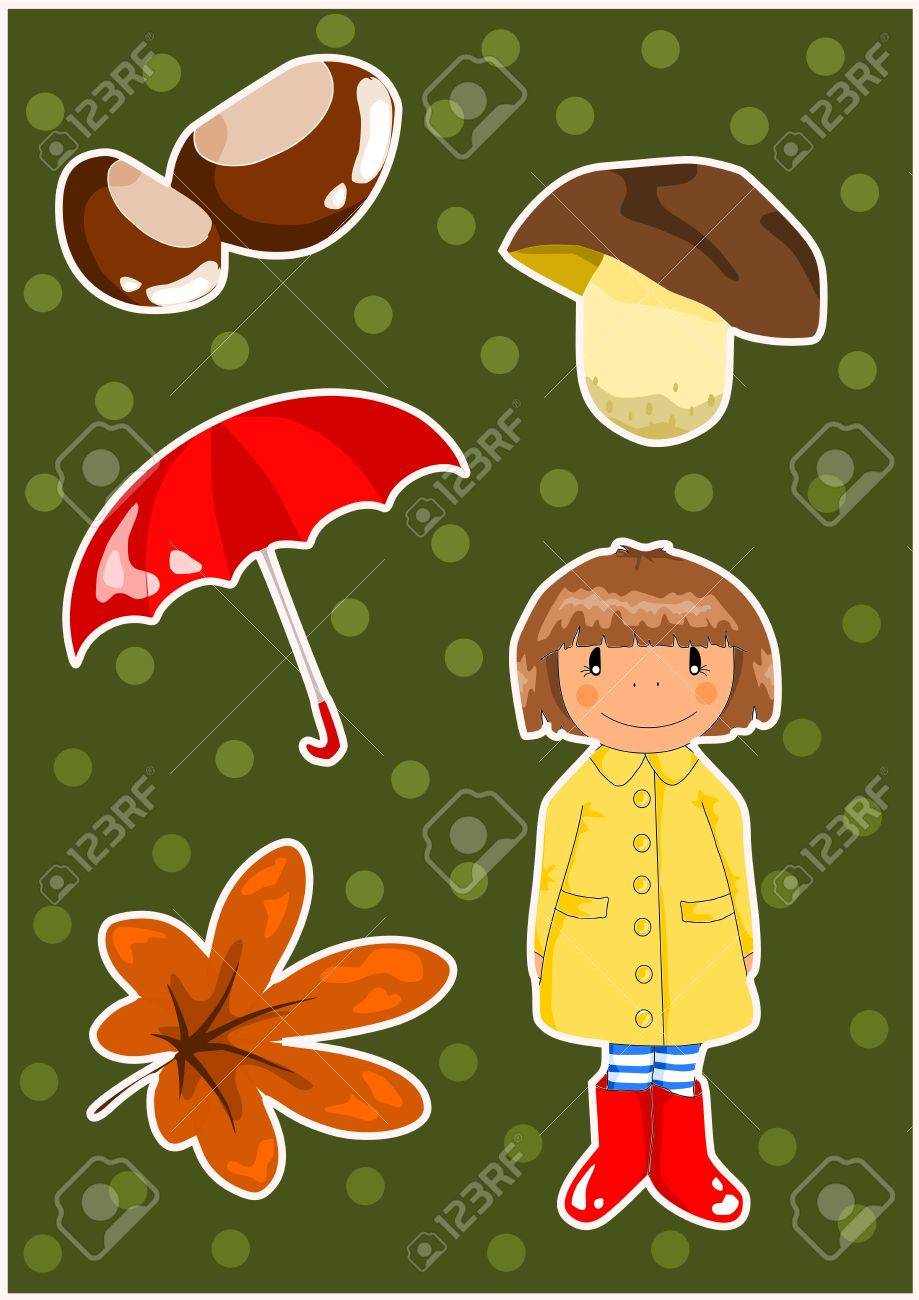 Autumn elements on the green background Stock Vector - 15309464