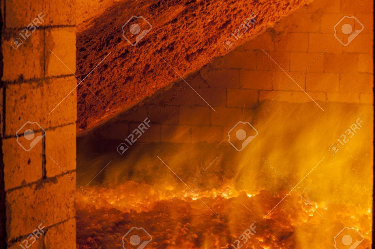 View to big industrial furnace - Poland, Power Station. Stock Photo - 16303821