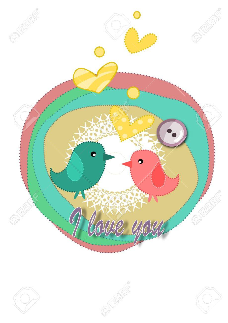 Birds in love - card for valentines day. Stock Vector - 16391486