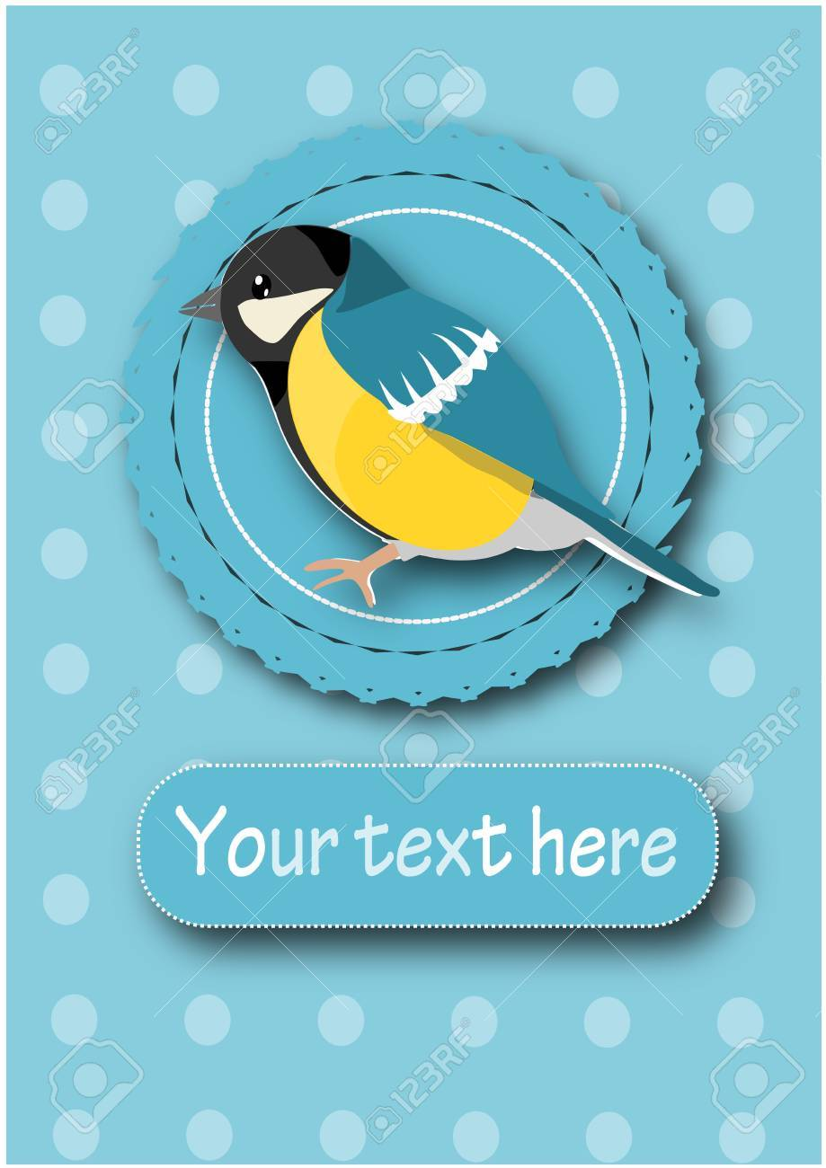 Tit on blue background - illustration with place for your text. Stock Vector - 16391477